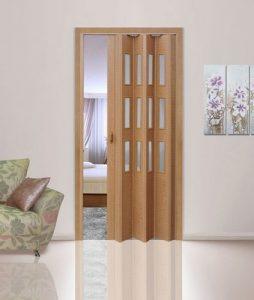 Дуб старый дверь гармошка с вставками