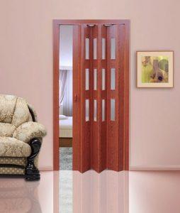 Вишня дверь гармошка с вставками