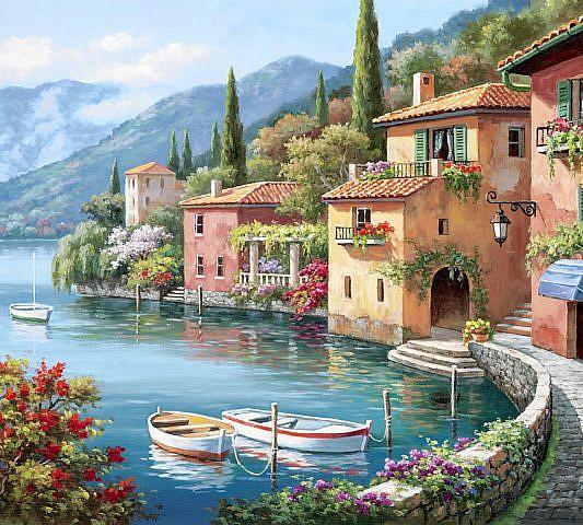Фотопанно Деревня Ди Ларго живопись, размер 300x270 (047)