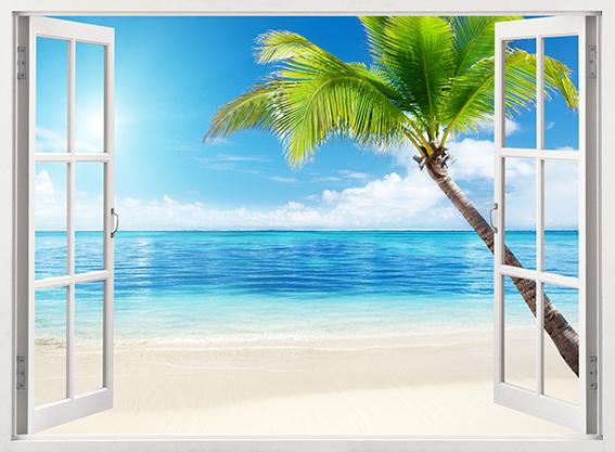 Фотопанно Окно на пляж, размер 200x147 (100)
