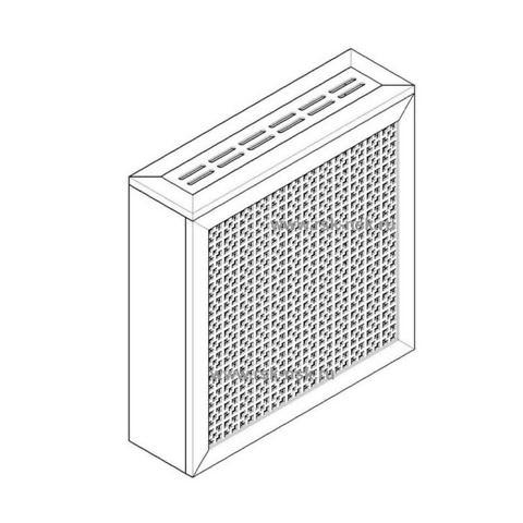 Экран с коробом для радиаторов 600х600x170 мм. ХДФ. Перфорированный. Дамаско Белый