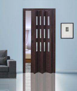 Венге дверь гармошка с вставками