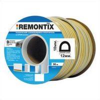 Уплотнитель D-профиль. Remontix технический самоклеящийся 12х10 мм. Бобина 25х2 м. Цвет: Черный
