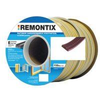 Уплотнитель E-профиль. Remontix бытовой самоклеящийся 9х4 мм. Бобина 75х2 м. Цвет: Коричневый