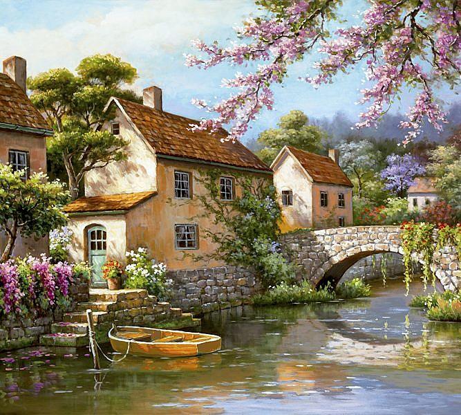 Фотопанно Деревня живопись, размер 300×270 (048)