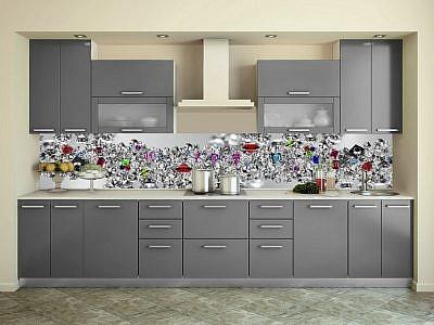 """Фартук ЛАК кухонный пластиковый 3 метра """"Бриллианты 898"""""""