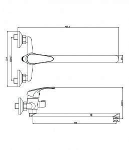 Смеситель д/ванны с длинным изливом Avila 02221AV