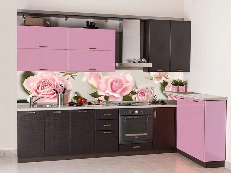050066 Цветы. Фартук для кухни в интерьере