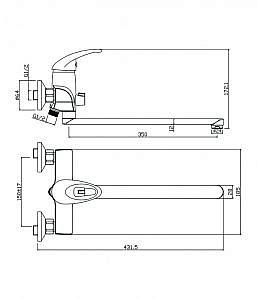Смеситель для ванны с длинным изливом Lerida 08221LR