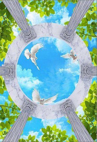 Райские голуби. Потолочное панно ПВХ