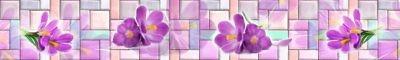 Фартук кухонный пластиковый 3 метра Цветы 1157 (Фотопечать) ПП