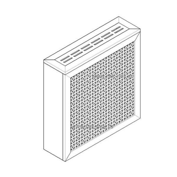 Экран с коробом для радиаторов 600х600×170 мм. ХДФ. Перфорированный. Дамаско Белый