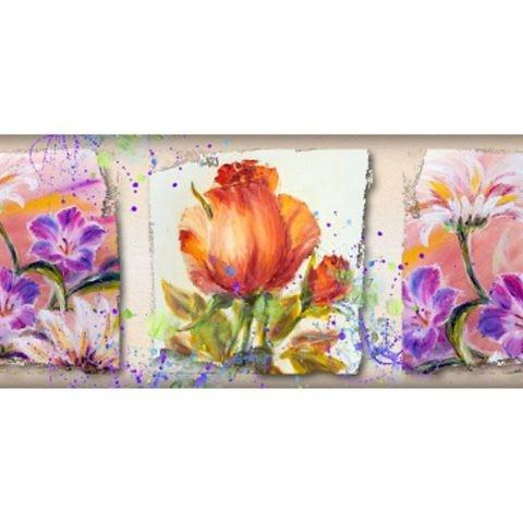 Фартук кухонный пластиковый 3 метра Цветы, акварель 204 (Фотопечать) ПП