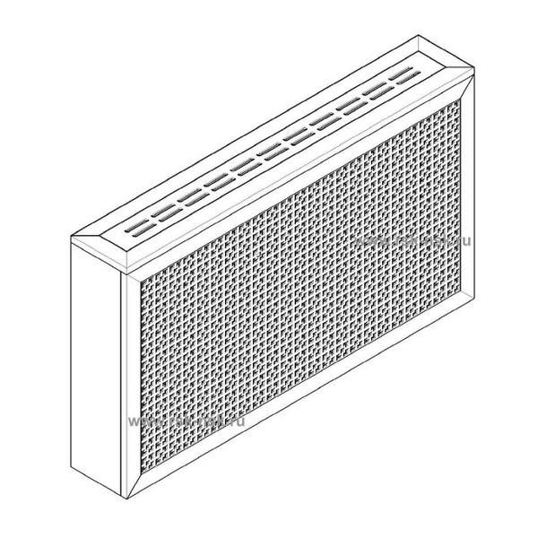 Экран с коробом для радиаторов 1200х600×170 мм. ХДФ. Перфорированный. Дамаско Белый