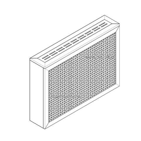 Экран с коробом для радиаторов 900х600x170 мм. ХДФ. Перфорированный. Дамаско Белый