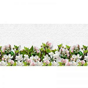 Фартук кухонный пластиковый 3 метра Яблоня на белом узоре 1780 (Фотопечать) ПП