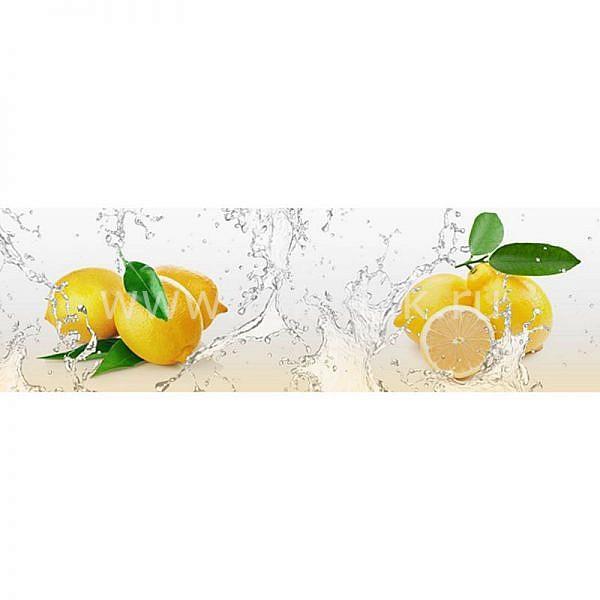 Фартук кухонный МДФ 2,8х0,6 метра Лимоны, вода 1061