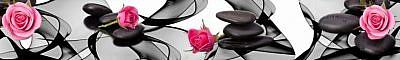 Фартук кухонный пластиковый 3 метра Розы и камни 456 (Фотопечать) ПП