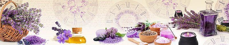 Фартук кухонный МДФ 2,8х0,6 метра Цветы, часы 156
