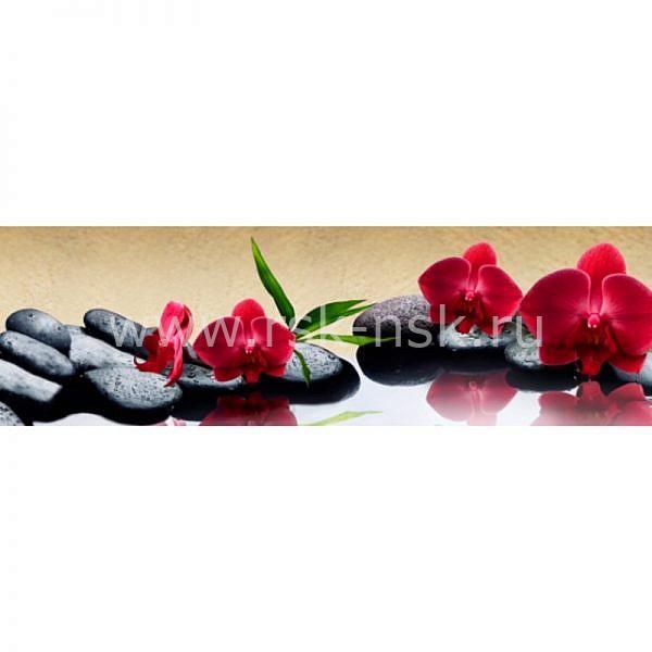 Фартук кухонный МДФ 2,8х0,6 метра Красные орхидеи 2617