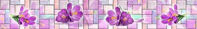 Фартук кухонный МДФ 2,8х0,6 метра Цветы, мозаика 1157