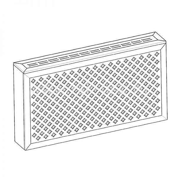 Экран с коробом для радиаторов 1200х600×170 мм. ХДФ. Перфорированный. Готико Белый