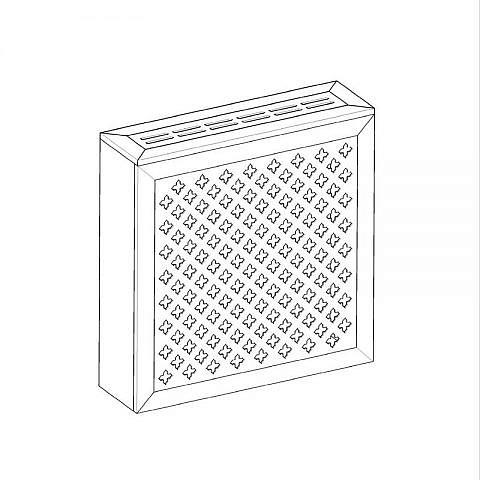 Экран с коробом для радиаторов 600х600x170 мм. ХДФ. Перфорированный. Готико Белый