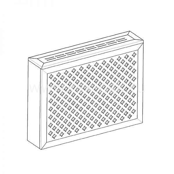 Экран с коробом для радиаторов 900х600×170 мм. ХДФ. Перфорированный. Готико Белый