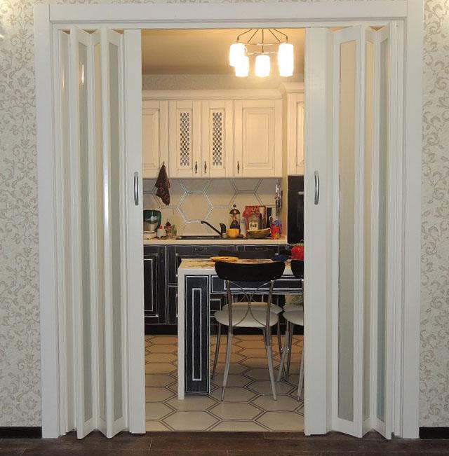 дверь гармошкой на кухню