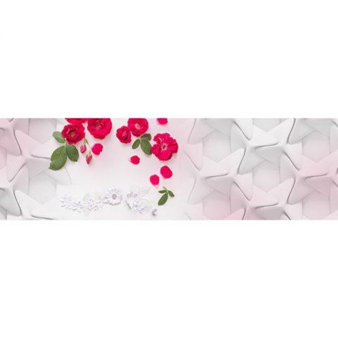 Фартук кухонный МДФ 2,8х0,6 метра Розы, плитка 4879