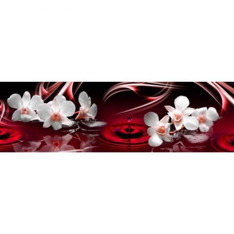Фартук кухонный МДФ 2,8х0,6 метра Белые орхидеи 9503