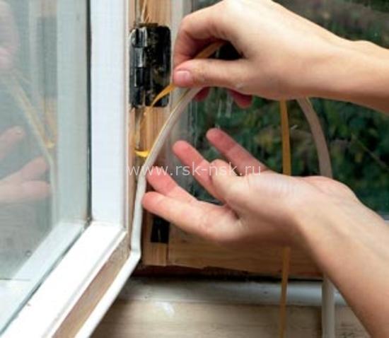 Монтаж уплотнителя на окно